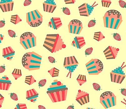 Tecido Tricoline Cupcake, Docinho e Morango - Fundo Creme