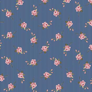 Tecido Tricoline Botão de Flor - Fundo Azul Noite - Coleção Exuberance - Preço de 50 cm x 150 cm