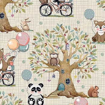 Tecido Digital Paisagem Floresta - Fundo Creme - Coleção Animais na Floresta - Preço de 50 cm x 150 cm