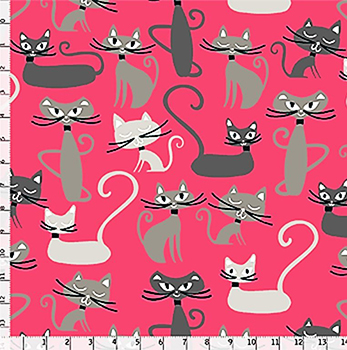 Tecido Tricoline Infantil Gato Maroto - Fundo Goiaba - Coleção Gato Maroto