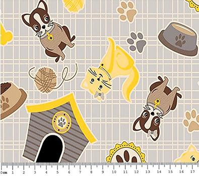 Tecido Tricoline Tudo para Pets  - Fundo Cinza
