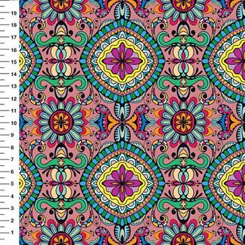 Tecido Digital - Mandala - Fundo Rosê