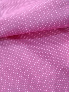 Tecido Tricoline com Micro Poá Branco com Fundo Rosa