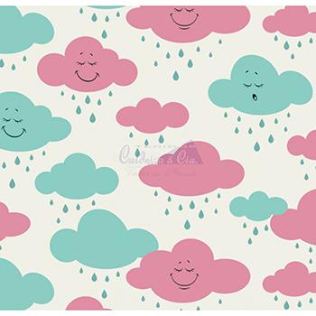 Tecido Tricoline Estampa de Nuvens Rosa e Tiffany