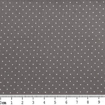 Tecido Tricoline Micro Poá Branco (Fundo Cinza) - 50cm x 150cm