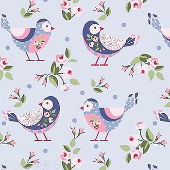 Tecido Tricoline de Pássaros e Flores - Fundo Azul - Coleção Pássaros e Flores