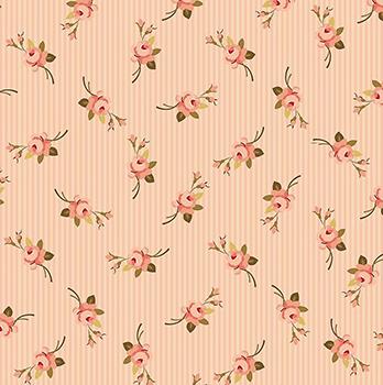Tecido Tricoline Botão de Flor - Fundo Listrado Rosa - Coleção Exuberance