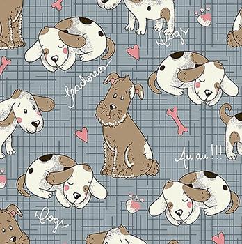 Tecido Tricoline Cachorrinho - Coleção Melhores Amigos - Fundo Azul