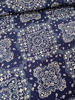 Tecido Tricoline Bandana - Fundo Azul