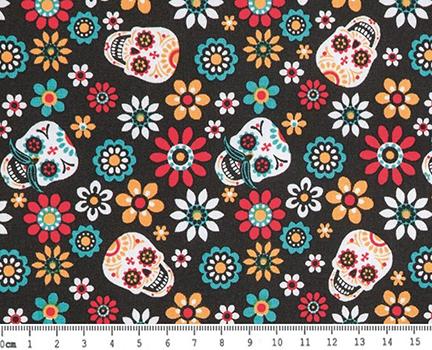 Tecido Tricoline Caveira Mexicana e Flores - Fundo Preto