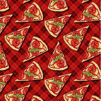 Tecido Digital Mini Pizza - Fundo Xadrez Vermelho - Coleção Chef - Preço de 50cm x 150cm