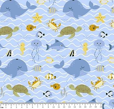 Tecido Tricoline com Estampa de Fundo do Mar - Fundo Azul - Preço de 50 cm X 150 cm