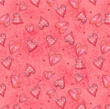 Tecido Digital Corações - Fundo Rosa Goiaba - Coleção Chaves e Cadeados