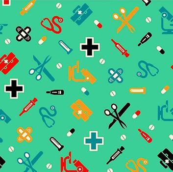 Tecido Tricoline Enfermagem e Médico - Fundo Verde - Preço de 50 cm x 150 cm
