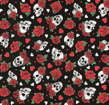 Tecido Tricoline Caveira e Rosas - Fundo Preto