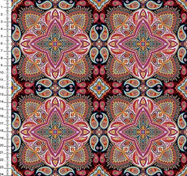Tecido Digital Mandala - Fundo Preto