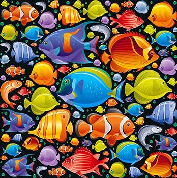 Tecido Digital Fundo Oceano - Fundo Preto - Preço de 50 cm x 150 cm