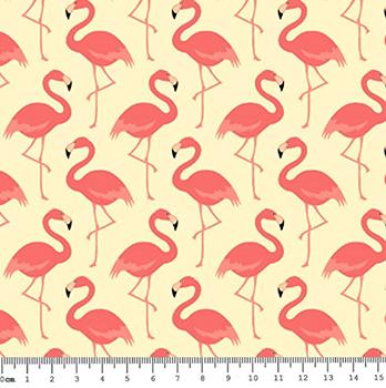 Tecido Tricoline Flamingo - Fundo Creme - Coleção Flamingo - Preço de 50cm x 150cm