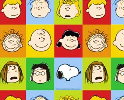 Tecido Tricoline Infantil Snoopy Faces da Turma - Preço de 48 cm x 150 cm