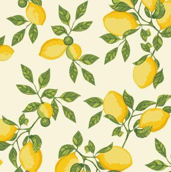Tecido Tricoline - Coleção Limão Siciliano - Fundo Creme