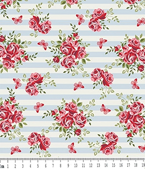 Tecido Tricoline Floral Rosa e  Borboletas - Fundo Listrado Azul - Preço de 50 cm X 150 cm