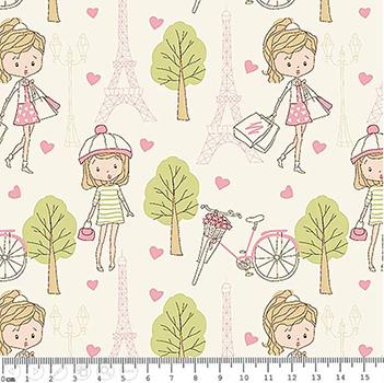 Tecido Tricoline Compras em Paris Rosa - Fundo Creme - Coleção Paris - Preço de 50 cm x 150 cm