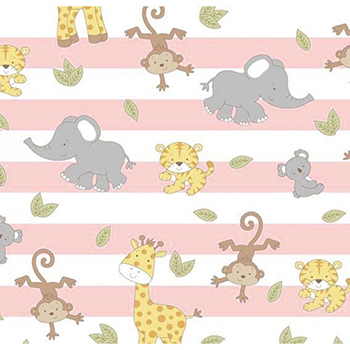 Tecido Tricoline Animais Bebês Rosa - Coleção Geometric Baby