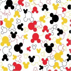 Tecido Tricoline Silhueta do Mickey Mouse - Coleção Disney - Fundo Branco - Preço de 50 cm x 150 cm