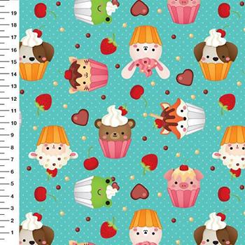 Tecido Digital Cupcake de Bichinhos - Fundo Verde