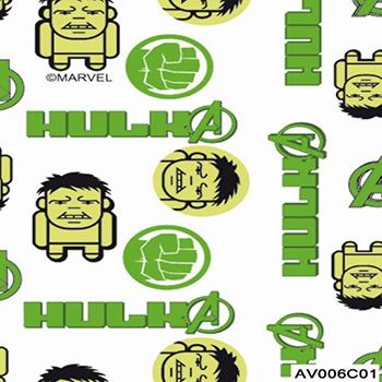 Tecido Tricoline Hulk 2 Vingadores - Fundo Branco - Coleção Marvel - Preço de 50 cm x 150 cm