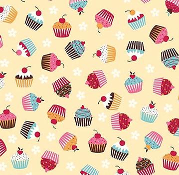 Tecido Tricoline Estampa de Cup Cakes - Fundo Creme - Preço de 50 cm x 150 cm