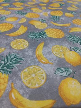 Tecido Tricoline de Abacaxi, Laranja e Banana - Fundo Cinza