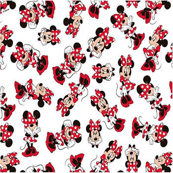Tecido Tricoline Minnie Mouse - Fundo Branco - Coleção Disney - Preço de 50 cm x 150 cm