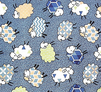 Tecido Tricoline Estampa Carneirinhos - Fundo Azul Jeans - Preço de 50cm x 150cm