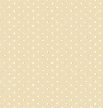 Tecido Tricoline  Estampa Mini Estrela Branca - Fundo Caqui - Preço de 45 cm X 150 cm