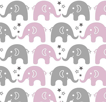 Tecido Tricoline Estampa de Elefante Cinza e Rosa
