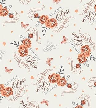 Tecido Tricoline Floral Laranja, Borboletas e Escrita - Fundo Bege - Preço de 50 cm X 150 cm