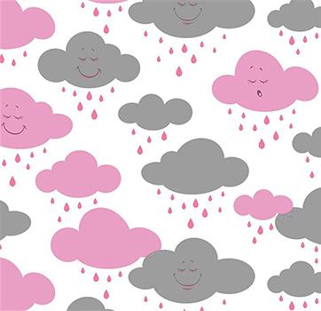 Tecido Tricoline Estampa de Nuvens Rosa e Cinza