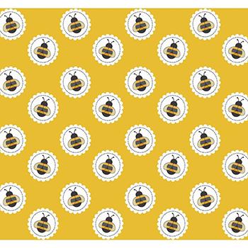 Tecido Tricoline Abelha no Círculo - Fundo Mostarda - Coleção Bee Buzz