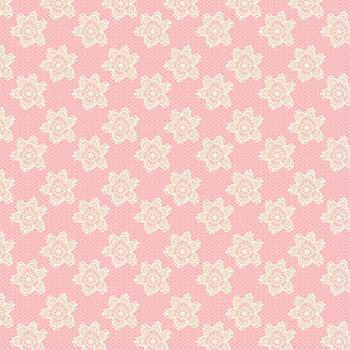 Tecido Tricoline Flores Rendadas - Fundo Rosé - Preço de 50cm x 150cm