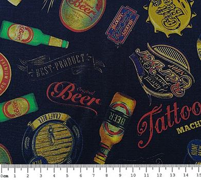 Tecido Digital Cervejas Beer - Fundo Preto