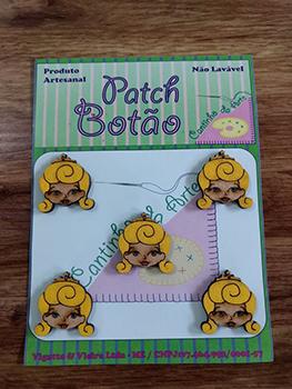 Patch Botão MDF (Não lavável) - Princesa Aurora, A bela adormecida - (2,5 cm) - Pacote com 5 unidades