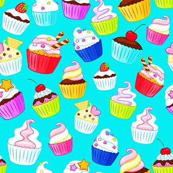 Tecido Digital - Cupcakes - Fundo Tiffany - Preço de 50 cm x 150 cm