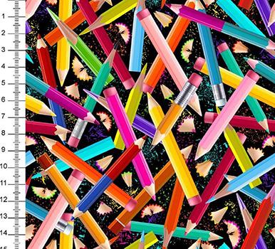 Tecido Digital Lápis Coloridos - Fundo Preto
