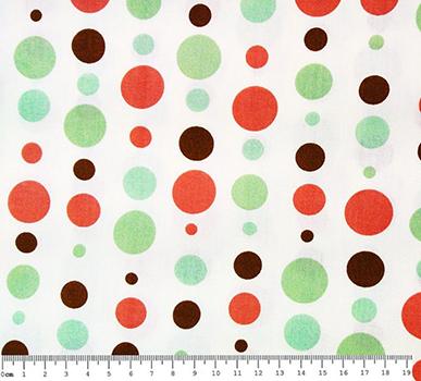 Tecido Tricoline Estampa Bolas Coloridas - Verde e Vermelha - Fundo Branco