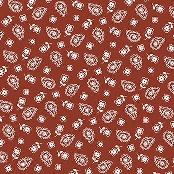 Tecido Tricoline Mini Cashmere - Fundo Ferrugem - Preço de 45 cm x 150 cm