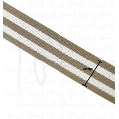 Alça Chic Para Bolsa de Poliéster - 4 cm - Listrada Bege e Branco