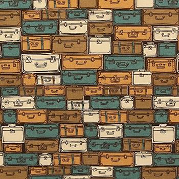 Tecido Tricoline Maletas com Azul - Coleção Viagem - Preço de 50cm x 150cm