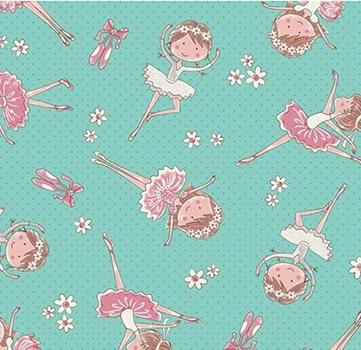 Tecido Tricoline Estampa de Bailarina - Fundo Tiffany e Rosa - Preço de 50 cm X 150 cm