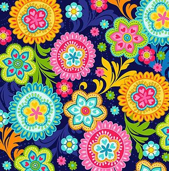 Tecido Estampa Digital - Mandala Color - Fundo Azul Marinho